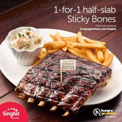 [Singtel] 1-for-1 HungryGoWhere exclusive! This month, enjoy 1-for-1 half-slab Sticky Bones (worth $27.90) at Morganfield'