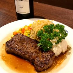 [Ma Maison Restaurant Singapore] Today's lunch special Ma maison at Bugis JunctionStripeloin Steak with Tamari SauceComes with Soup, Mini Salad, Bread