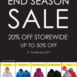 [The North Face] The North Face End Season Sale is here! From now till Sunday 26 February 2017, enjoy 20% off storewide on