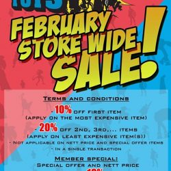 [Simply Toys] ANNOUNCING OUR FEBRUARY STORE WIDE SALE!Terms and Conditions: - 10% off the first item (apply on the most expensive item) -