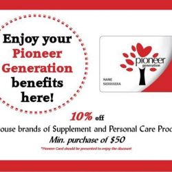 [VitaKids] Pioneers of Singapore, do take note!Enjoy 10% off Supplement & Personal Care Products when you flash your Pioneer Generation card