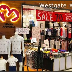 [MOLEY APPARELS] Last Day Today! Special sale of 35% storewide discount! Westgate will not be the same again tomorrow! Head over to