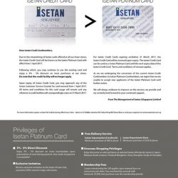 [Isetan] Dear Isetan Credit Cardmembers,Due to the streamlining of Isetan cards offered at all our Asian stores, the Isetan Credit
