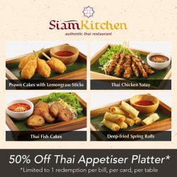 [Siam Kitchen] Featuring our irresistible Thai appetizer platter, from Chicken satays to prawn/fish cakes, all DBS cardholders will be entitled to