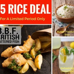 [CHIPPY - British Take Away] Tasty and Piping Hot Battered Fish served with Steaming Butter Flavoured Rice and Refreshing Lemonade, all for Only $5! Grab