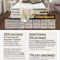 [Sealy Singapore] 3-Day Special! Purchase a Sealy UniCased Posturepedic Lensbury and get a FREE upsize from Queen to King-size! Do