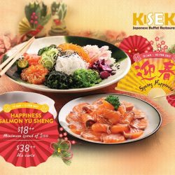 [Kiseki Japanese Buffet Restaurant] Toss to a greater year with Happiness Salmon Yu Sheng. Available till 11 February 2017. $18++ with minimum spend of $