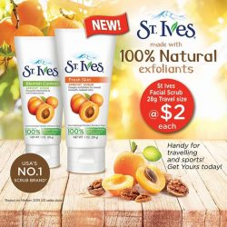 [Watsons Singapore] New Launch at Watsons! Get America's #1 Scrub brand – St Ives Facial Scrub 28g Travel Pack @ $2 each! St