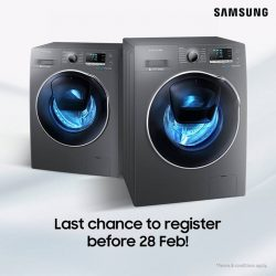 [Samsung Singapore] Have not registered your Samsung washing machine? Last week to register for a chance to win a Samsung AddWash™ Combo