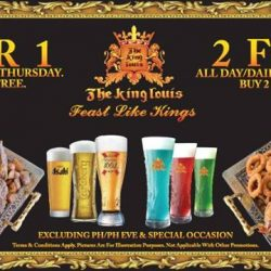 [The King Louis Bar & Grill] The King is giving back! Head now to Vivo city and enjoy our promotions! Buy 1 Get 1 FREE every