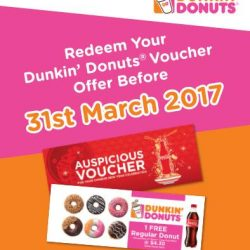 [Dunkin' Donuts Singapore] Got your hands on an Auspicious Voucher from purchase of Coca-Cola products? Don't miss out on redeeming your