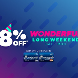 [Lazada Singapore] Citi Wonderful Long Weekend! Cardmembers get to enjoy 8% off with code 'CITIWONDER' ;)