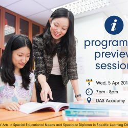 [Dyslexia Association of Singapore] Have you been thinking of furthering your education in the special educational needs sector? Check out DAS Academy's higher