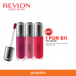 [Guardian] Celebrating #1 Lip Brand in Singapore* and #1 Lip Launch in US**, you can buy Revlon® Ultra HD Matte Lipcolor™