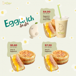 [Mr Bean Singapore] Rise and shine to a golden eggy morning with Mr Bean's beanie-licious Eggwiches! Enjoy real protein goodness with