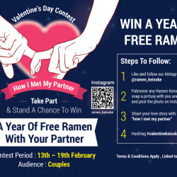 [Keisuke Ramen] Don't miss your chance to win AMAZING PRIZE! Stand a chance to win 1 year FREE ramen with just