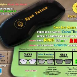 [EYES PALACE] UPCOMING PROMOTION FOR CRIZAL TRANSITION LENSES. ONLY AT EYES PALACE OUTLETSPROMOTION PERIOD: 20 MARCH TO 31 JULY 2017