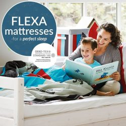 [FLEXA] SAFE ∙ MATERIALSWith FLEXA, your child sleeps on a safe and allergy-friendly mattress. Our textiles and mattresses are all