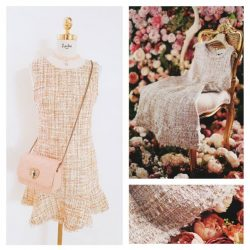 [Lavina] Get ready to welcome the Spring season with our newest Dress! Ginger Tweed Dress 99.90 Pink Lace Choker 19.