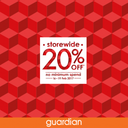 [One KM] 20% OFF storewide sales from now till 19 Feb!T&Cs apply. Check out Guardian at #B1-28 for more