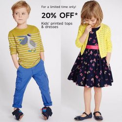 [Marks & Spencer] Let your young ones have fun with prints, enjoy 20% OFF Kids' printed tops & dresses for a limited time only.