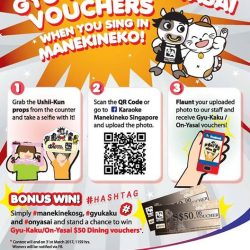 [Manekineko Karaoke Singapore] Manekineko X Gyu Kaku!Receive Gyu Kaku vouchers when you check-in and sing at Manekineko! Follow the simple steps
