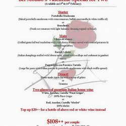 [Bel Mondo Italian Kitchen] Join us for our delectable Italian fare this Valentine's Day!Our Valentine's Day set menu is available on