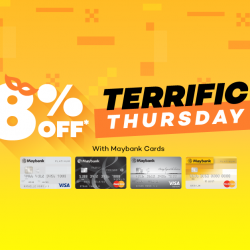 [Lazada Singapore] Maybank Terrific Thursday! Cardmembers get to enjoy 8% off with code 'MBTERRIFIC' :D