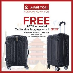 "[Ariston] Last 6 days to redeem this 20"" 8 wheeled cabin size luggage worth $129 for FREE^ if you have already"