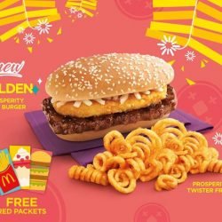 [McDonald's Singapore] Hash brown lovers, dig into this - our all-new Golden Prosperity Beef Burger comes with a crispy hash brown, and