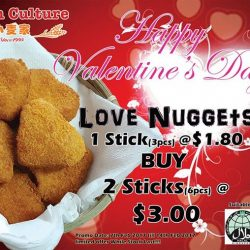 [Dough Culture] Valentine's Promo Love Nuggets 1 stick(3pcs) @ $1.80 2 sticks(6pcs) @ $3.00 Available from 7 Feb to