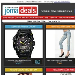 [Jomashop] Casio Multifunction Watch $169 | Versace Ladies Watch 83% Off | Maurice Lacroix $895 | Ralph Lauren Jeans $25 | New Event: Seiko & Ray Ban