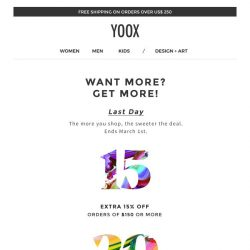 [Yoox] Last day: up to an EXTRA 25% off