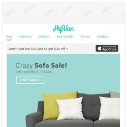 [HipVan] Last 12 Hours: Crazy Sofa Sale!