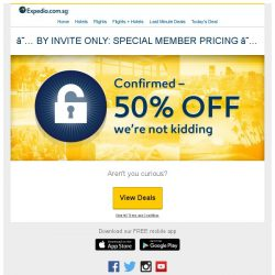 [Expedia] ✅ CONFIRMED: You've scored 50% off