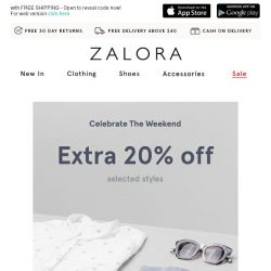 [Zalora] Ends tomorrow, 12 noon: Extra 20% off selected styles!