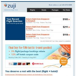 [Zuji] 3D2N Bali, Bangkok packages from below $200! Plus, 5% rebate.