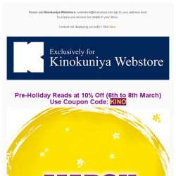 [Books Kinokuniya] March Reading! Enjoy 10% off BOOKS between 6th to 8th March (Mon-Wed) for your online purchase!
