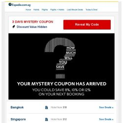 [Expedia] ? Congratulations, You Qualify for a MYSTERY Hotel Coupon