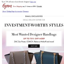 [6pm] Invest in the Best: ZAC Zac Posen, Kate Spade & more on sale!