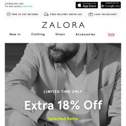 [Zalora] Extra 18% off to give your hump day a boost! 🚀