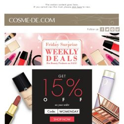 [COSME-DE.com] Customized for you! Celebrate the world's womenality! 15% Off + More surprised Offers!