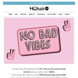 [HQhair] Don't miss out on 15% off & a FREE Beauty Bag worth £50