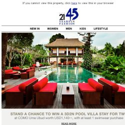 [Triumph] Enjoy a 3D2N stay for two at COMO Uma Ubud!