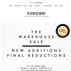 [Forzieri] Final days for Warehouse Sale | 70% Off Best of Luxe