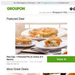 [Groupon] Pies Day: 1 Personal Pie (in choice of 4 flavors) / Serangoon Central: Gel or Classic Mani-Pedi