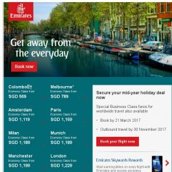 [Emirates] Special fares to 79 destinations starting from SGD 569