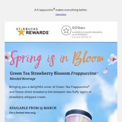 [Starbucks] Bask in Spring with the Limited Edition Green Tea Strawberry Blossom Frappuccino