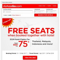 [AirAsiaGo] ⌛ FREE SEATS when booked together with hotel | 5 Days Left! ⌛