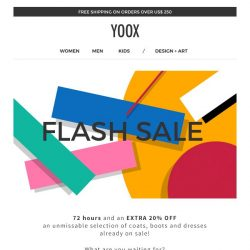 [Yoox] ⚡️ Flash Sale: 72 hours - don't miss out